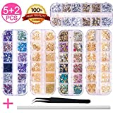 5 Boxes Nail Art Rhinestones Gold Silver Metal Nail Art Studs Rivets Nail Crystal Gems, Co...