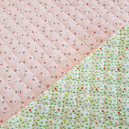 Werthers Stoffe Stoff Baumwollstoff Meterware Steppstoff rosa grün Blumen wattiert gesteppt