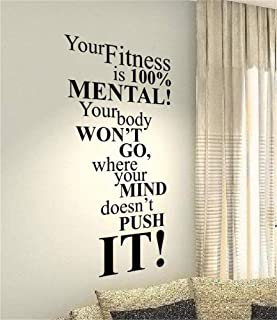 Vinyl Wall Art Inspirational Quotes and Saying Home Decor Decal Sticker Your Fitness is 100% Mental for Living Room