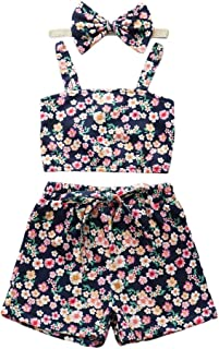 Weixinbuy Baby Girls Floral Flower Cropped Camisole Tops T-Shirts with Elastic Waist Shorts 2 Pcs Clothes Set