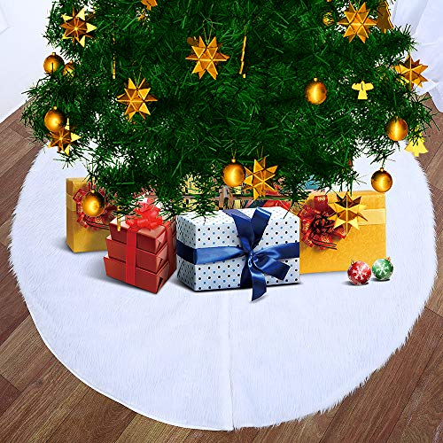 Artmag Christmas Tree Skirt 48 inches Large Snowy White Faux Fur Xmas Tree Skirt for Christmas Decorations Indoor and Outdoor
