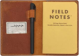 Hand Stitched Leather Notebook Cover for Field Notes, Moleskine Cahier 3.5x5.5 Inches, Pocket Journal Cover with Pen Holder & Card Slot, Brown