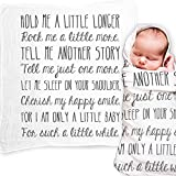 """Ocean Drop Designs - White Muslin Swaddle Blankets - Hold Me A Little Longer Quote - for Christening, Baptism, Baby Shower, Godchild Gift - 100% Cotton, Breathable - Machine Washable (47""""x47"""")"""