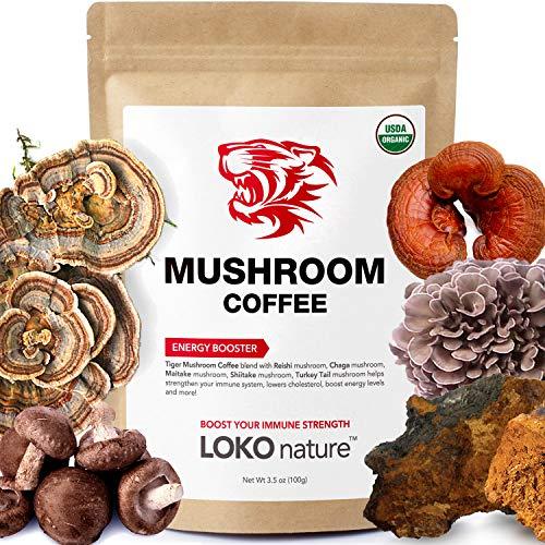 Tiger 5 Mushroom Coffee- Organic Superfood Mushroom Coffee with 100% Arabica, 30 servings, Powerful Natural Ingredients, Antioxidants, Immune System Booster, Vegan, Dairy Free, Non-GMO and Great Taste