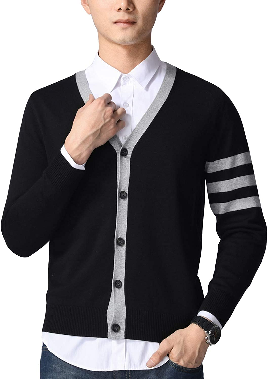 Previn Men's Casual Sweater Knit V-Neck Long Sleeve Button Down Contrast Trim Cardigans