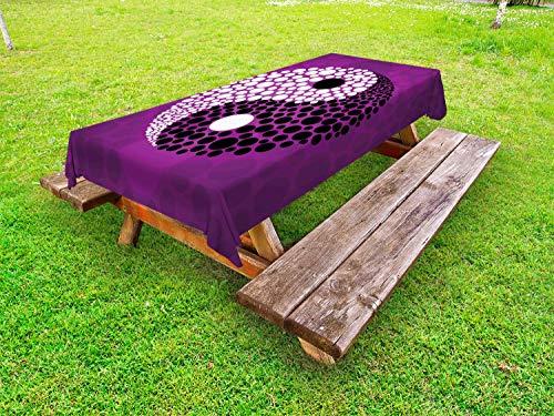 ABAKUHAUS Ying Yang Nappe Extérieure, Équilibre Ying Yang Harmony, Nappe de Table de Pique-Nique Lavable et Décorative, 145 cm x 210 cm, Violet Blanc Noir