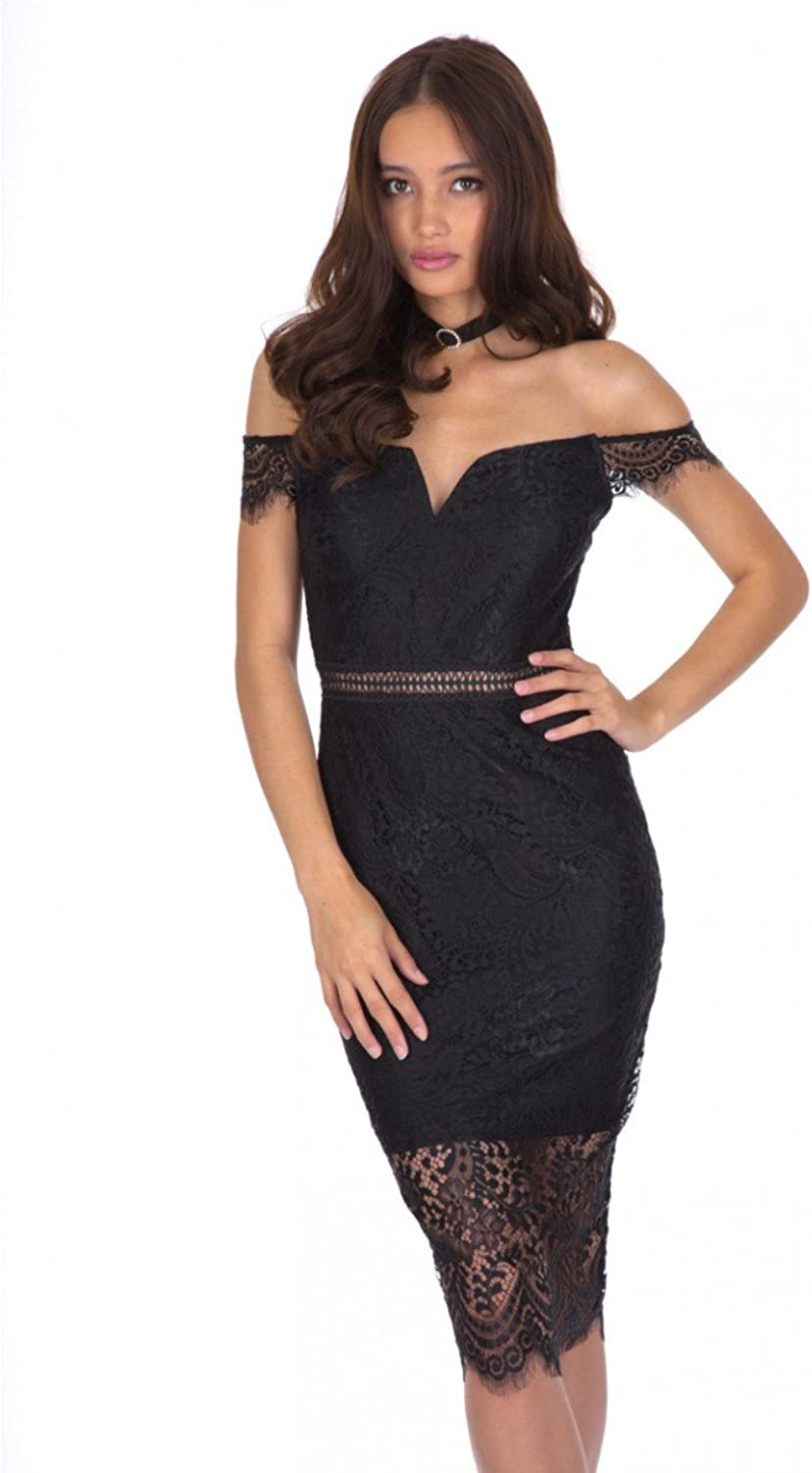 AX Paris Women's Off The Shoulder Lace Bodycon Dress