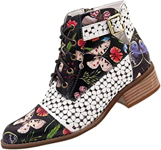 FRENDLY✲✲ Ink Painting Flower Short Boots Pattern Cow Leather Splicing Ankle Booties Lace-Up Stitching Casual Boots