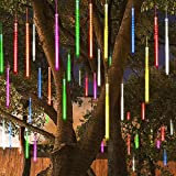 MAOYUE Meteor Shower Lights, 16 Tubes 640 LED Icicle Lights Outdoor Christmas Decorations Lights Waterproof Cascading Lights for Holiday Decorations, Tree, Eaves, Roof, Yard, Garden, Party, Colorful