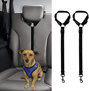 BWOGUE 2 Packs Dog Cat Safety Seat Belt Strap Car Headrest Restraint Adjustable Nylon Fabric Dog Restraints Vehicle Seatbe...