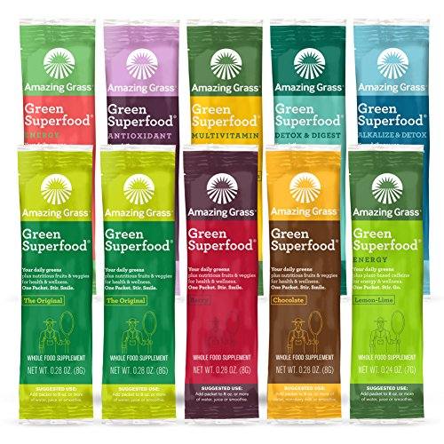 Amazing Grass Green Superfood Variety Pack: 10 Flavors of Super Greens Powder with Spirulina, Digestive Enzymes & Probiotics, 10 Servings