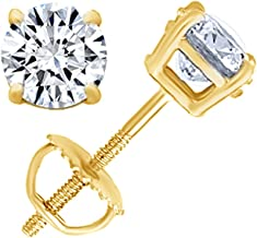 Round Natural Diamond Stud (IGI Certified 0.70 ct & up) Plus Quality Screw Back Earrings in 14k Solid Gold, 0.04 Ctw & Up