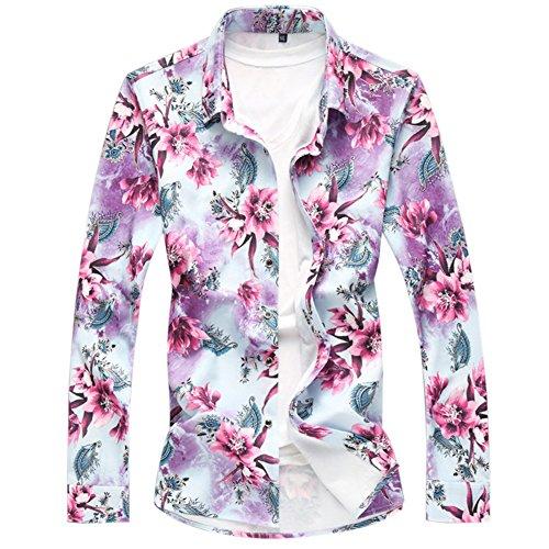 CEEN メンズ 春 秋 シャツ 花柄 長袖 フラワー おしゃれ アロハシャツ リゾート カジュアル さわやか 花 柄フラワー (XL, レッド)