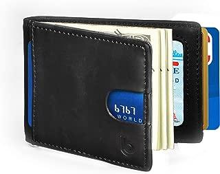 Mens Slim Minimalist Front Pocket Bifold Wallet with Money Clip Finest Genuine Leather RFID Blocking Secure