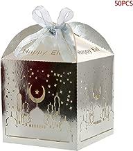Usohiral 50pcs Laser Cut Hollow Favors Gifts Candy Boxes With Ribbon Ramadan Eid Mubarak Party Decor Muslim Festival Supplies