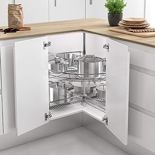 Casaenorden - Kit de 2 bandejas giratorias 270º de Rejilla para Mueble de Cocina esquinero, Diámetro 700mm / Alto 630-730mm