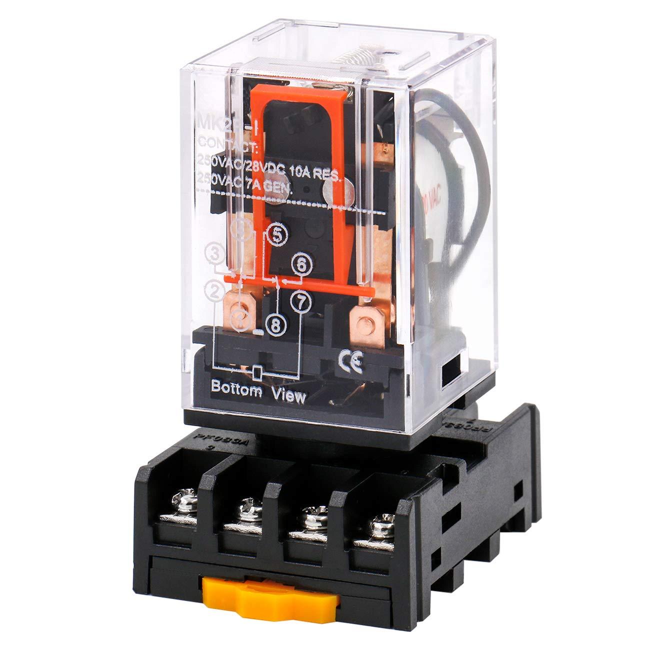Heschen Relé de propósito general MK2P-I AC 220V Bobina DPDT 8 Pin con enchufe de terminal enchufable PYF83A