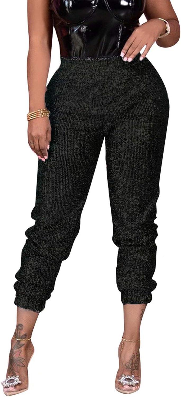 RAMOUG Women's Shiny Sequin Lined Pants Party Club High Waist Glitter Long Leggings