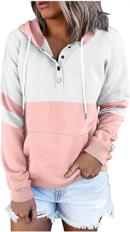Qunkii Sweatshirt for Women,Womens Hooded Sweatshirts Casual Stitching Tops Long Sleeve Drawstring Hoodie Pullover