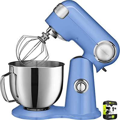 Cuisinart SM-50BL 5.5-Quart Stand Mixer Blue Bundle with 1 Year Extended Protection Plan