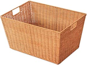 Basket Bamboo Laundry Basket Gift Basket Wicker Clothes Storage Bag Sorter Box Storage Box Cover Natural Wood (Color : Yel...