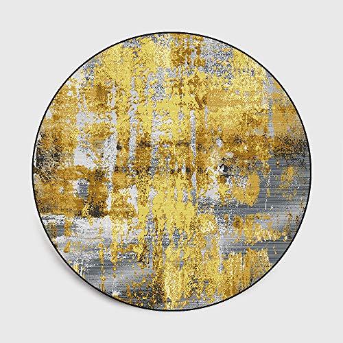 WIVION Runder Nacht Teppich Nordic Luxus Nachtteppich Teppiche Gold Grau Teppiche Für Zuhause Wohnzimmer Europäischer Teppich Stuhl Mat-Nr,140x140cm(55x55inch)