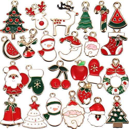 Christmas Enamel Charm Pendant Assorted Gold Plated Santa Claus Elk Snowman Tree Pendant for Necklace Bracelet Jewelry Accessories DIY Making and Crafting (50 Pieces)