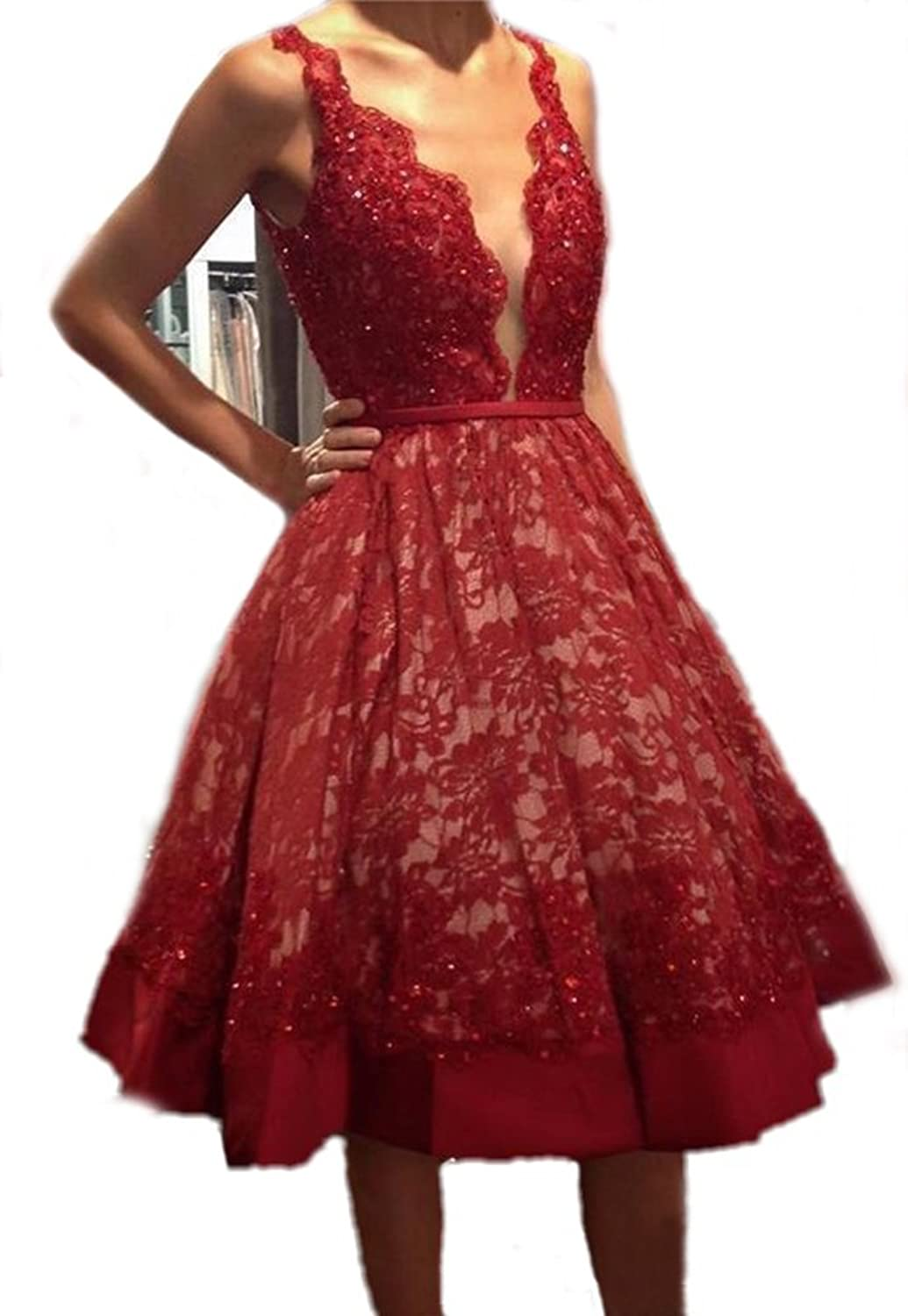 Chenghouse Short Prom Dresses 2017 Tea Length Lace Homecoming Dresses