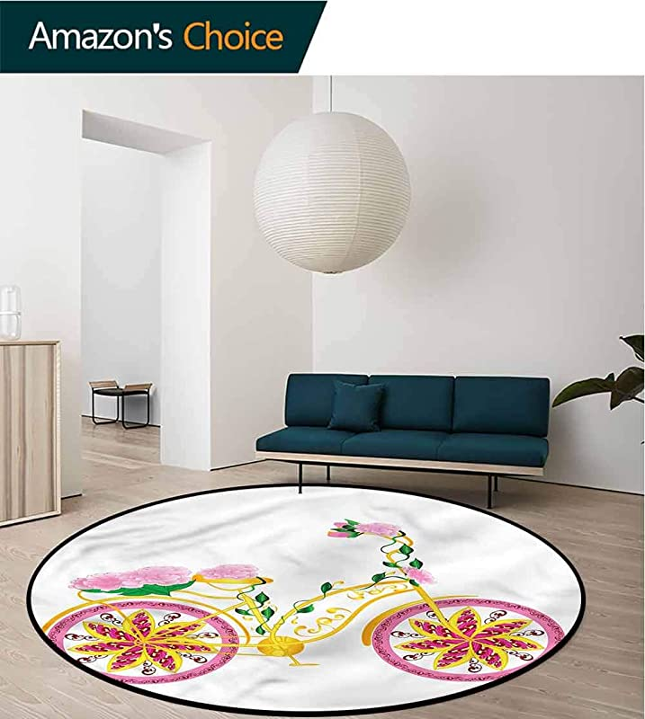 RUGSMAT Bicycle Carpet Gray Round Area Rug Pink Bike Floral Ornament For Home Decor Bedroom Kitchen Etc Round 31