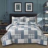 Blue White Plaid Quilts King Size Lightweight Patchwork Quilt Summer...