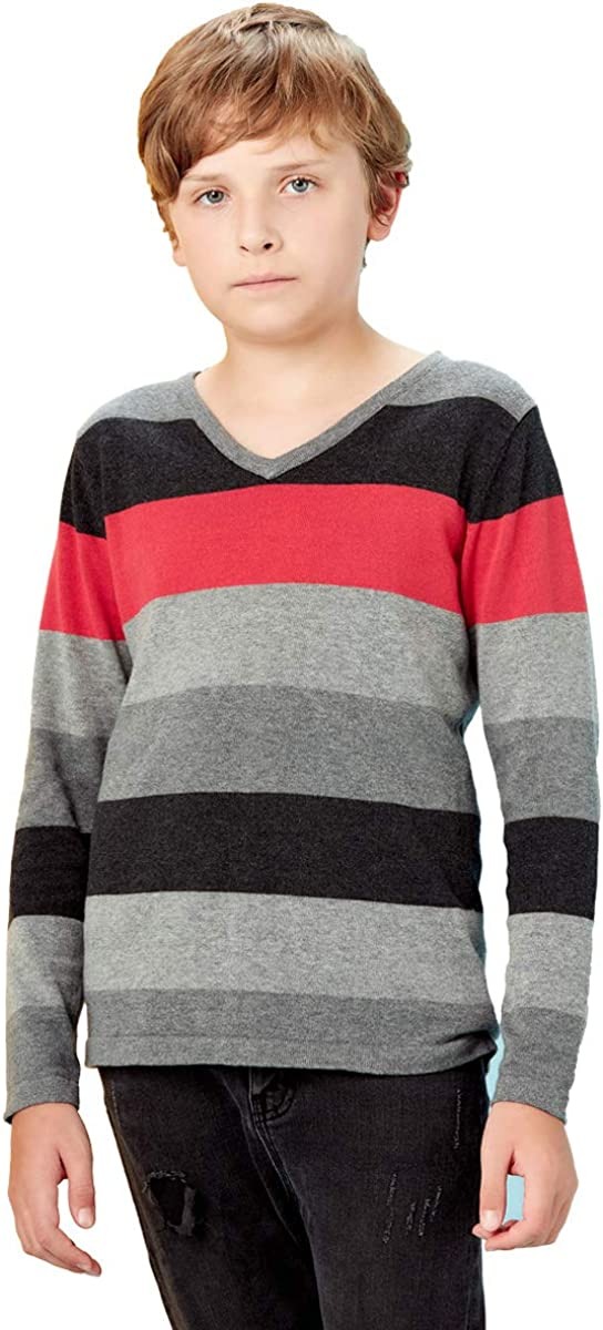 basadina Boys Jumpers Kids Knitwear Christmas Sweatshirt Striped Sweater Long Sleeve Pullover Kids Warm Clothes for Autumn and Winter