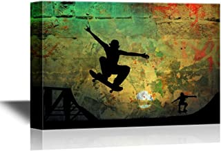wall26 - Skateboard Canvas Wall Art - Staters Playing on Rustic Grunge Background - Gallery Wrap Modern Home Decor   Ready to Hang - 16x24 inches