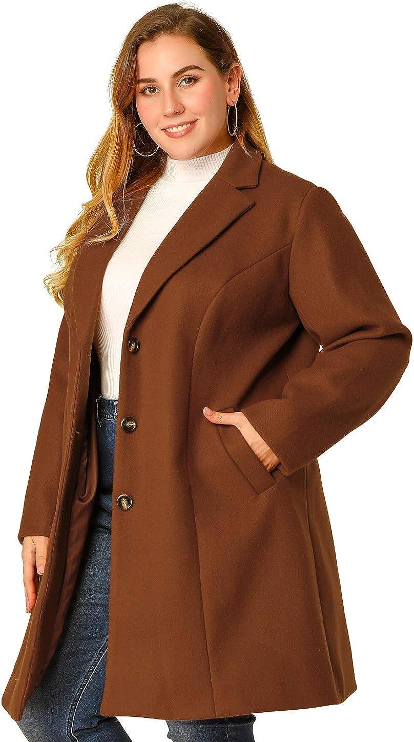 Agnes Orinda Women's Plus Size Coat Single Breasted Notched Lapel Elegant Long Winter Coats