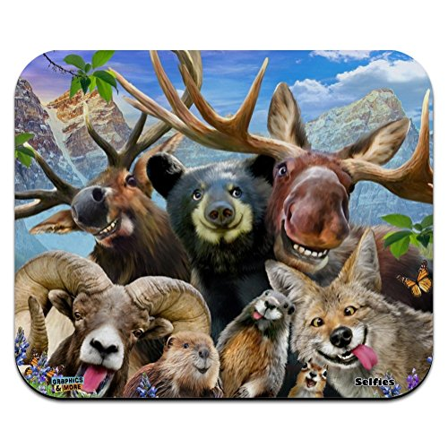 Rocky Mountain Animals Selfie Bear Moose Elk Ram Beaver Fox Low Profile Thin Mouse Pad Mousepad
