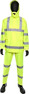 West Chester 4033 Hi-Vis Rain suit - 2X Large, 3 Piece Lime Green Rain suit, Poly Oxford Material with PU Coating. Safety ...