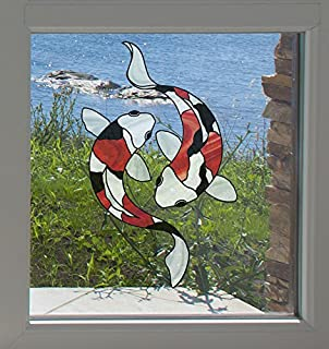 Koi Fish Pair - Stained Glass Style - See-Through Vinyl Window Decal Copyright Yadda-Yadda Design Co. (LG 6