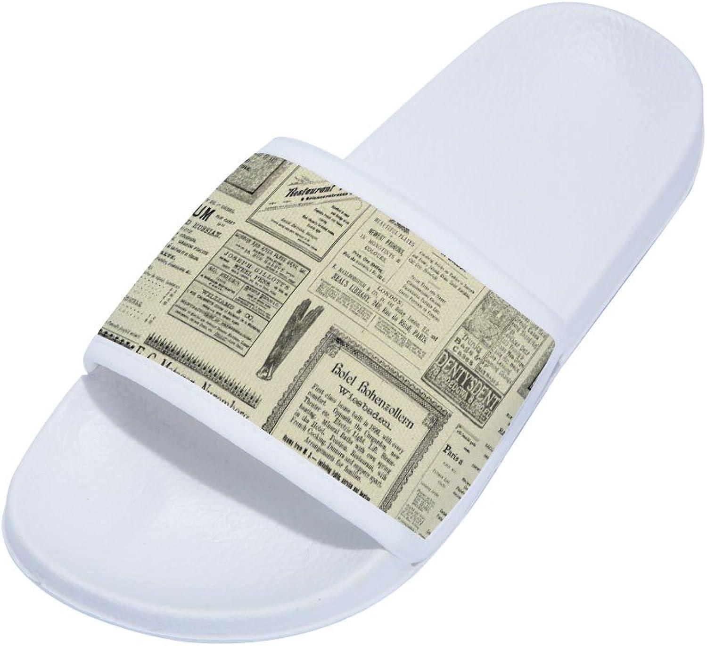 Buteri Vintage Newpaper Slippers Non-Slip Quick-Drying Slippers for Womens