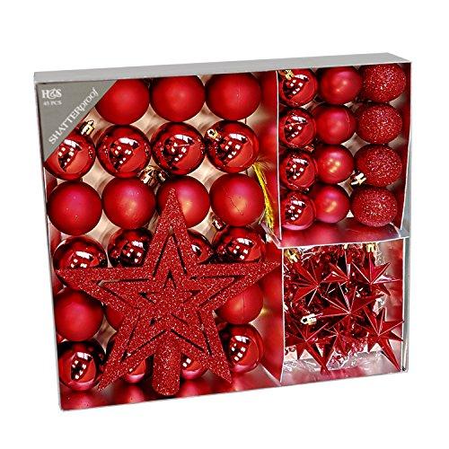 Multistore 2002 - Set di 45 palline per albero di Natale, Ø 4/5 cm, colore: Rosso