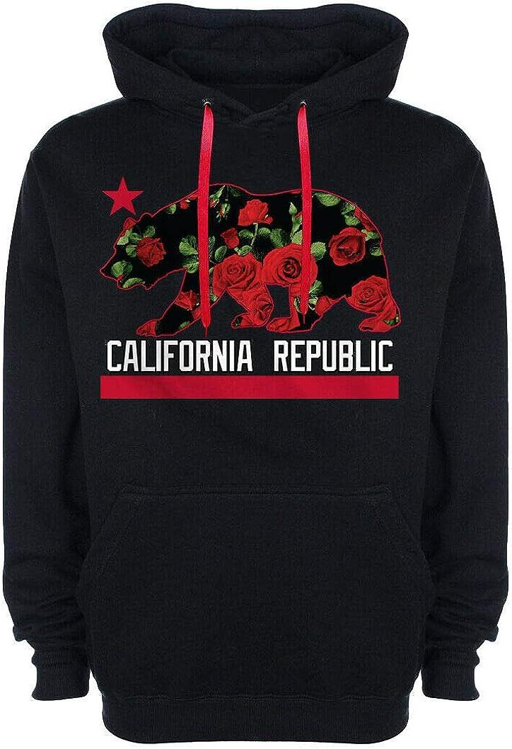 Men's California Republic Red Roses Hoo Hoodie ストア 迅速な対応で商品をお届け致します Floral Print Cali