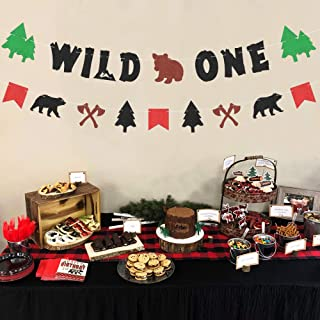 2Pcs Lumberjack Wild One Banner Themed Garland Kids 1st Birthday Decorations Rustic Hunter Camping Themed Party Supplies Woodland Forest Wild Party Ideas