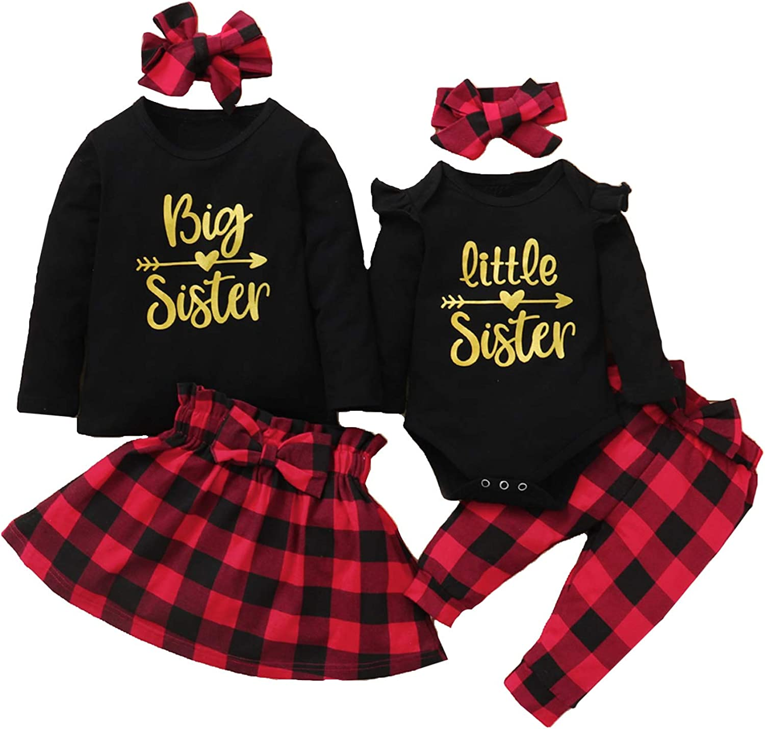 Aslaylme Baby Girls Matching Sister Outfit Big Little Sister Christmas Clothes