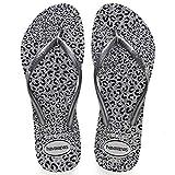 Havaianas Women's Slim Animals Flip Flop Sandal, Grey/Graphite, 7/8 M US