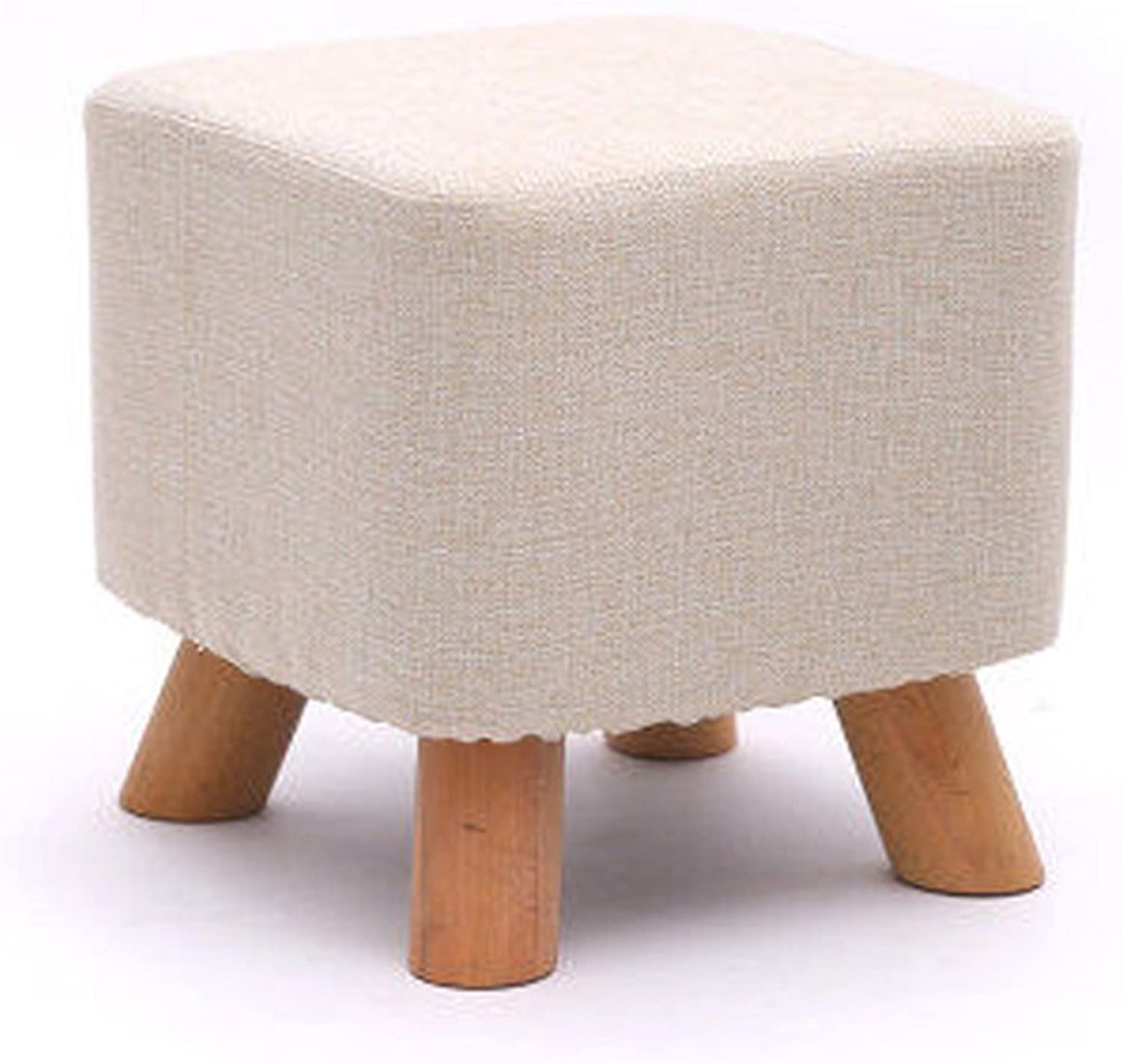 BJLWTQ Solid Wood Change shoes Stool Footstool Round Upholstered 3 4 Wood Legs Pouffes Stool Fabric Cover Removable (color    11)