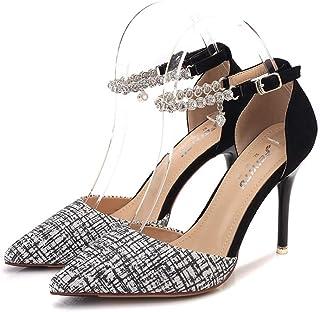 [OceanMap] ストラップ ポインテッドトゥ 9cm ヒール パンプス 痛くない 大きいサイズ 結婚式 脱げない 小さいサイズ 靴 アンクルストラップ ポインテッド 歩きやすい レディース 黒 シルバー 銀 ゴールド 金