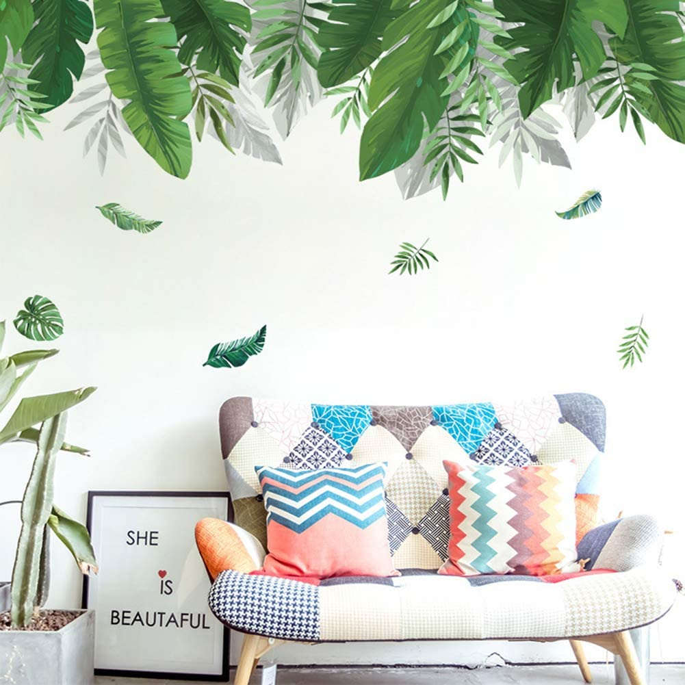 Amazon Com Wall Sticker Fresh Greenery Leaves Plant Wall Sticker Living Room Bedroom Home Decal Decor Home Kitchen