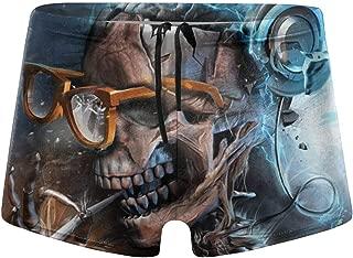 メガネ付きスカル音楽喫煙メンズ水着クイックドライボクサーブリーフスイミングショーツトランクス水着
