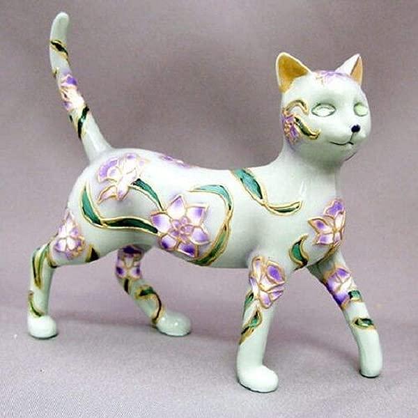 Bradford Exchange Graceful Lily Figurine Cloisonne Garden Of Cat Collection