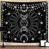 Bacazue Sun Moon Tapestry Wall Hanging Sun with Stars Space Psychedelic Black and White Wall Tapestry for Bedroom, Living Room, Dorm Home Wall Decor (59.1ʺL x 82.7ʺW/ 150 x 210cm)