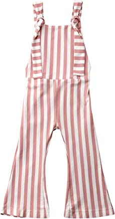 eb1cce31990 Toddler Kids Baby Girl Stripes Bell-Bottom Jumpsuit Romper Overalls Pants  Outfits