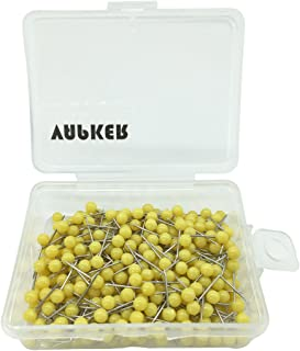VAPKER 300Pcs 1/8 Inch Map Tacks Round Plastic Head Push pins with Stainless Point(Box of 300 Yellow Color pins)